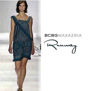 BCBGMaxAzria Runway teal ruffled dress